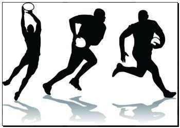 Reprodukce výtvarného umění ze tří rugby hráč silueta k19902633 - na plátně, plakáty, nástěnná tisk, plakát umělecká díla, nástěnné dekor - k19902633.eps
