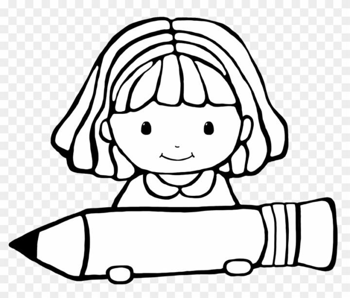 Girl Writing Clipart Black And White Clipart Student Black And White Art School Supplies Clip Art Clipart Black And White