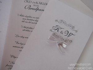 Bröllopsprogram med Strass (16 Färger) och Band.  Skimmer papper 20 sek/st .