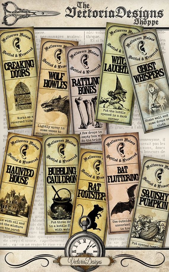 Bottled Halloween Sounds Labels instant by VectoriaDesigns on Etsy