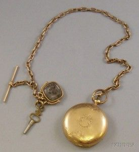 Swiss Gold Hunter Case Key-wind Savonnette Pocket Watch and 14kt Gold Chain and Fob.