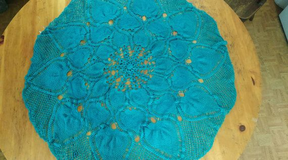 Hey, I found this really awesome Etsy listing at https://www.etsy.com/listing/182436737/crochet-tablecloth-turquoise
