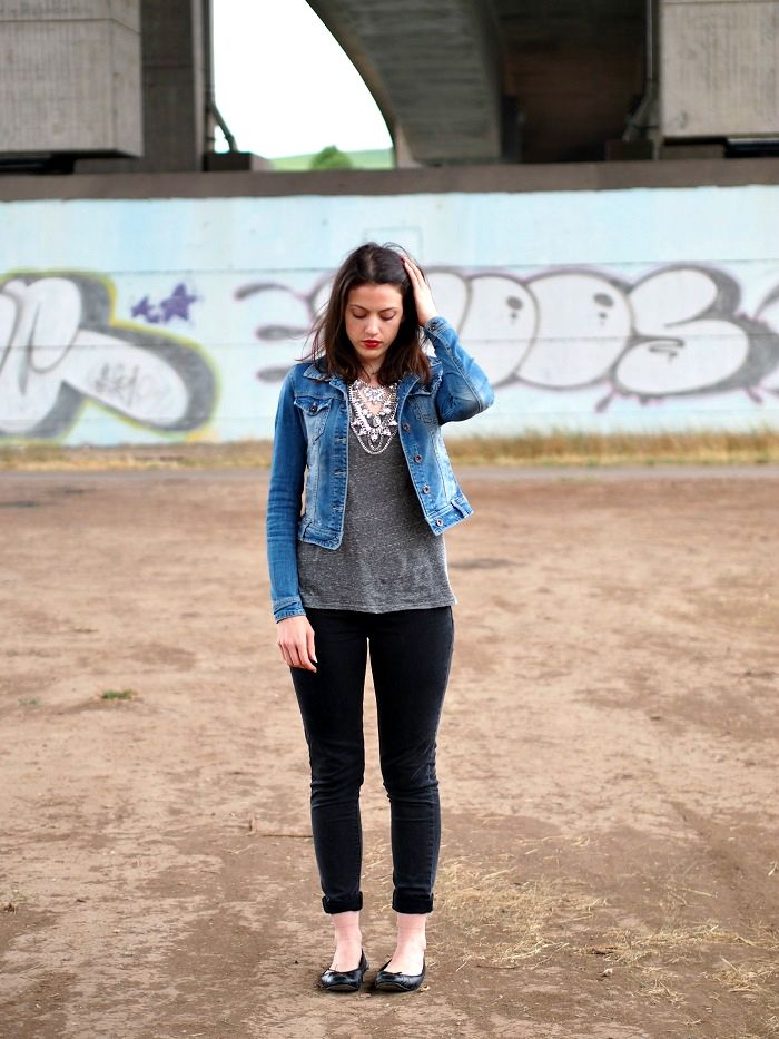 Jeansjacke Outfit Blogger