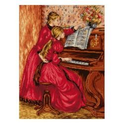 Goblen-Şemalı :: Ünlü Tablolar :: Piyano Dersi - Pierre Auguste RENOIR   #goblen #etamin #kanavice #goblenci #goblencicom #kanevice #elisi #nakis www.goblenci.com