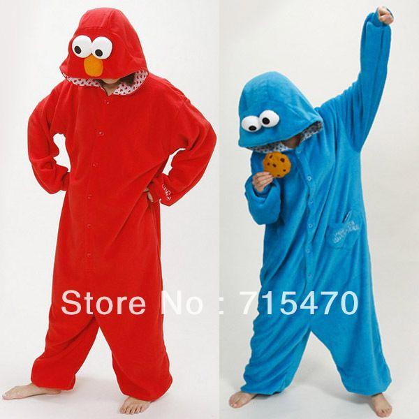 Дешевое New2014 Sleepsuit улица сезам Elmo печенье монстр косплей хэллоуин костюм взрослых ползунки пижамы животных пижамы для женщин мужчин, Купить Качество Костюмы непосредственно из китайских фирмах-поставщиках:    Костюм у взрослого размера S / M / L / XL Пожалуйста , проверьте ниже размеров деталей ниже того,       S размер прис