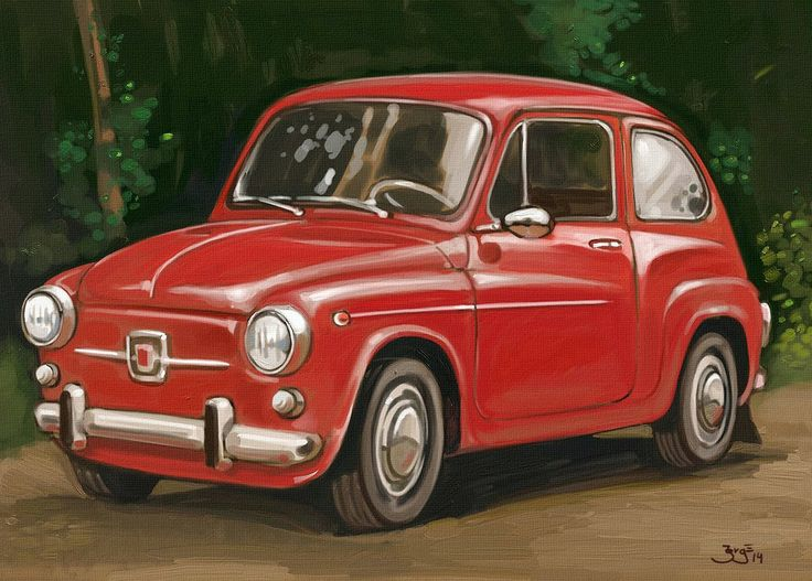 Fiat 500 - In Argentina also knows as Fiat 600 - Jorge Santillan - Digital, Oil painting style
