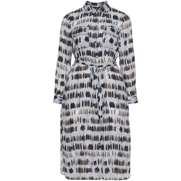 navabi Silver / Brown Plus Size Printed tie belt shirt dress ($260) ❤ liked on Polyvore featuring dresses, plus size, silver, long sleeve midi dress, long sleeve dress, brown dress, silver dress and plus size dresses