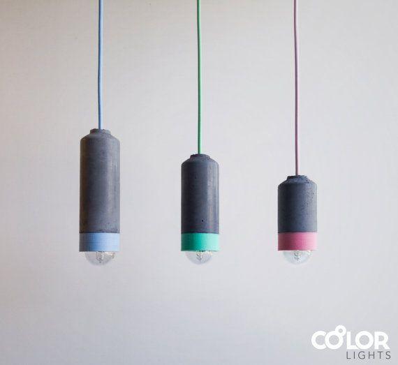 Colourful Concrete Pendant Light  #concrete #pendantlight #concretelight