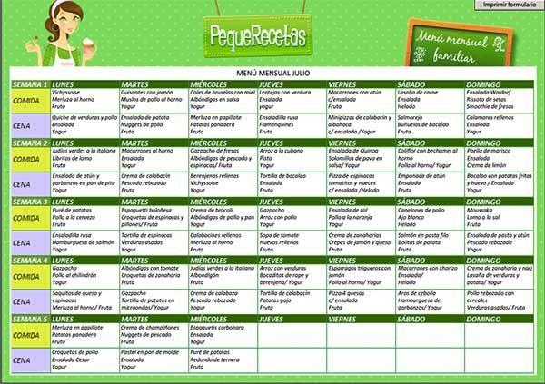 M s de 20 ideas incre bles sobre menus semanales sanos en for Menus faciles y sanos