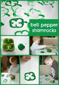 Bell pepper shamrocks craft.