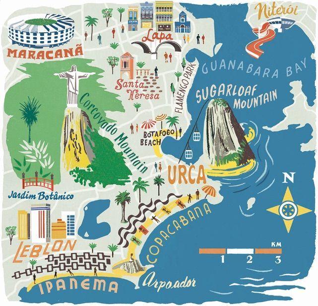 Rio De J Mapa Rio De Janeiro Ilustracoes Com Mapas Rio De Janeiro