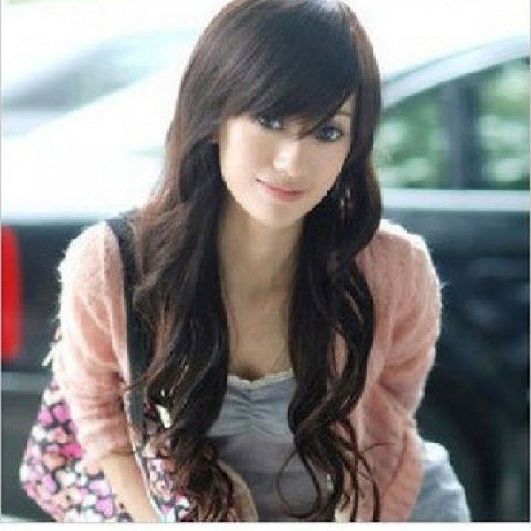 New Arrival Laconic OL Style Inclined Bang Fluffy Long Curly Wig--Common Hair, DARK BROWN in Synthetic Wigs   DressLily.com