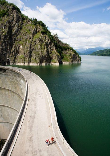 The imposing Vidraru Dam in Romania.