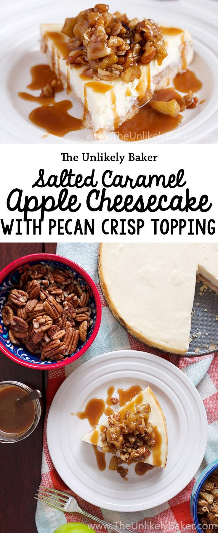 Celebrate fall with this salted caramel apple cheesecake! Butter crust, cinnamon apples, creamy cheesecake, pecan oat crisp, salted caramel sauce. You're welcome. #cheesecake #dessert #baking #fall #apples #recipe