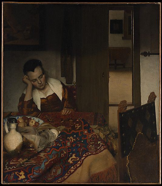 This picture is probably the earliest in which the Delft painter treats his favorite theme of a young woman, occasionally with a male companion, in a domestic interior. An overdressed maid has dozed off after entertaining a visitor (two glasses, a pitcher, and a jug may be seen in the jumbled still life). The painting above her depicts Cupid unmasked, an oblique explanation of her dreamy smile. Radiographs show that Vermeer originally painted a man in the background and a dog to the lower…
