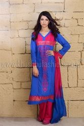 Picture of Pink and Blue Kameez and Trousers