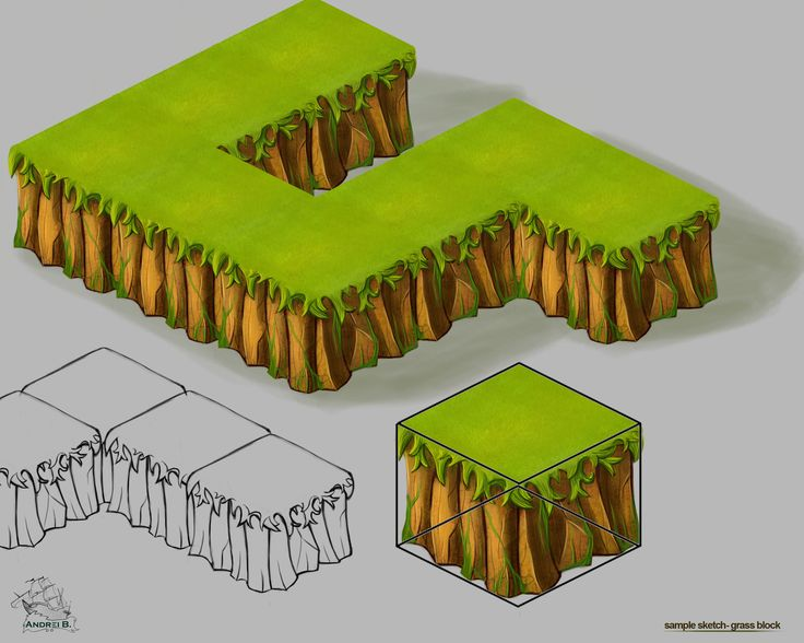 Grass block  isometric |  isometric graphics |  buildings |  facebook game |  game design |  illustration |  photoshop |  game graphics