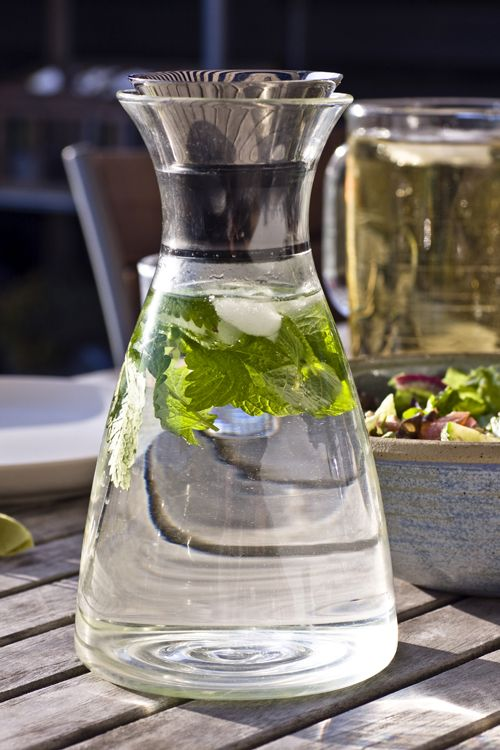 Keep a pitcher of water in the fridge to preserve it next time you're thirsty.   Going Green: 10 Easy Eco Home Ideas