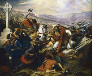 Charles de Steuben's Bataille de Poitiers en octobre 732 depicts a triumphant Charles Martel (mounted) facing 'Abdul Rahman Al Ghafiqi (righ...