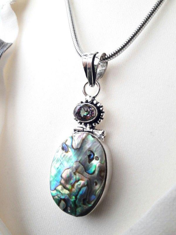 Toller Anhänger für Halskette Collier in silber mit Abalone und lila grünem Mystic Topas Edelstein