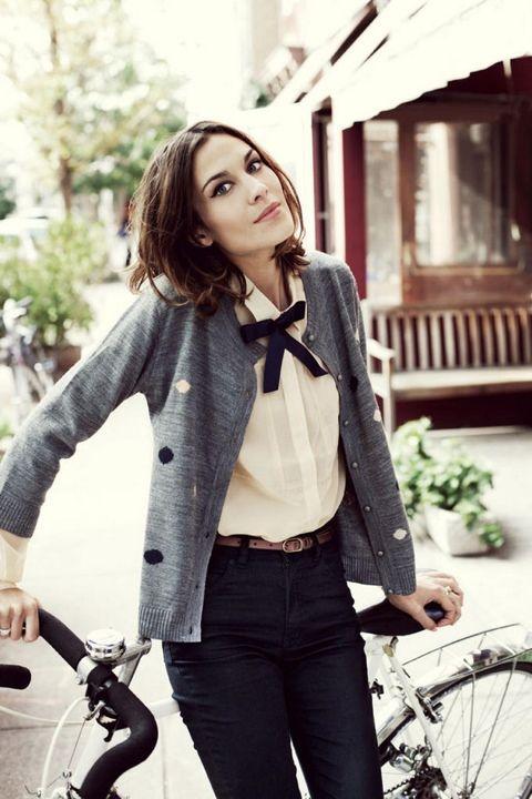 Black bow + grey cardigan + blouse