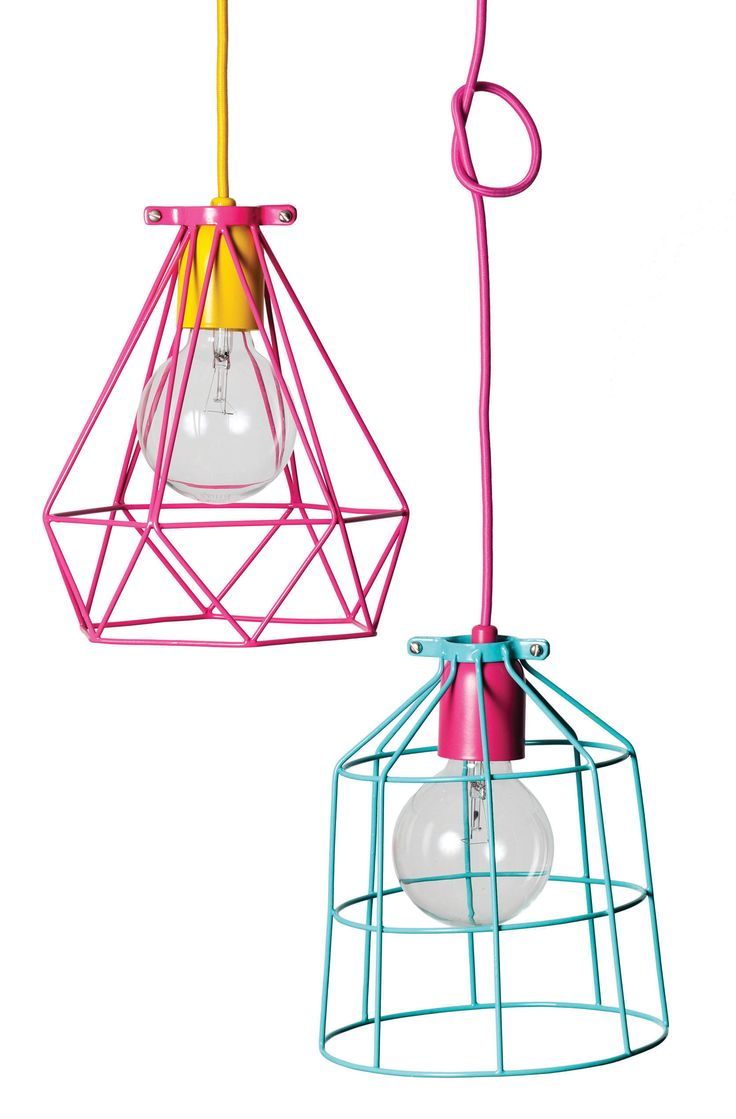 Up-date your decor with these modern industrial style wire lamp shades.  They look great hung by themselves, or is a group. Lots of colours and 3 styles to choose from.