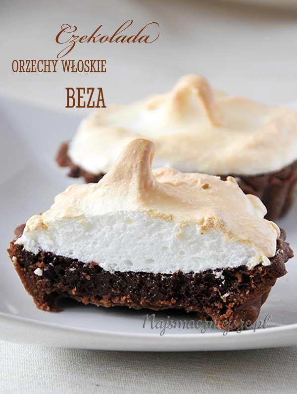 Tartaletki czekoladowe z bezą, tarta z czekoladą, tarta z orzechami, tarta z…