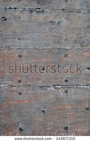 grunge wood background with nails - stock photo