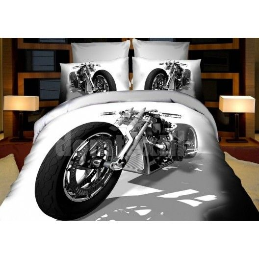 Obliečky pre deti bielej farby s luxusnou motorkou