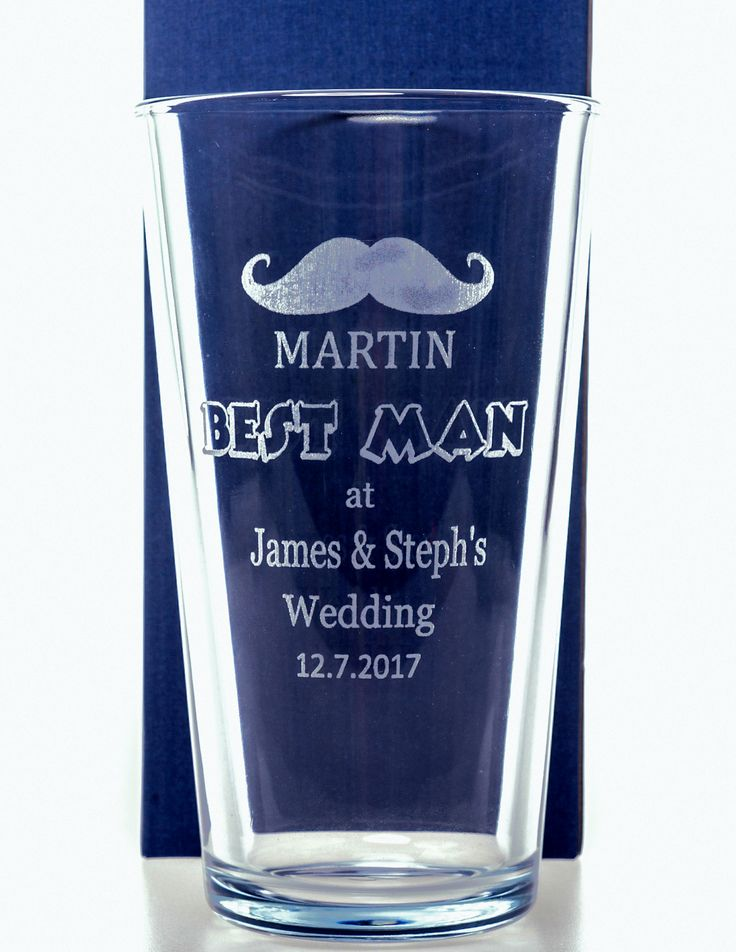 ENGRAVED WEDDING MOUSTACHE PINT GLASS