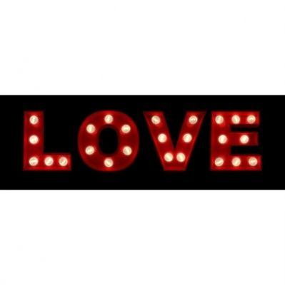Quadro com LED Love Preto