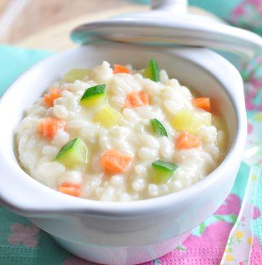 Risotto aux petits légumes pour bébé de LACTEL. Plus de recettes pour bébé sur www.lactel.fr/nos-recettes/toutes-nos-recettes-pour-bebe
