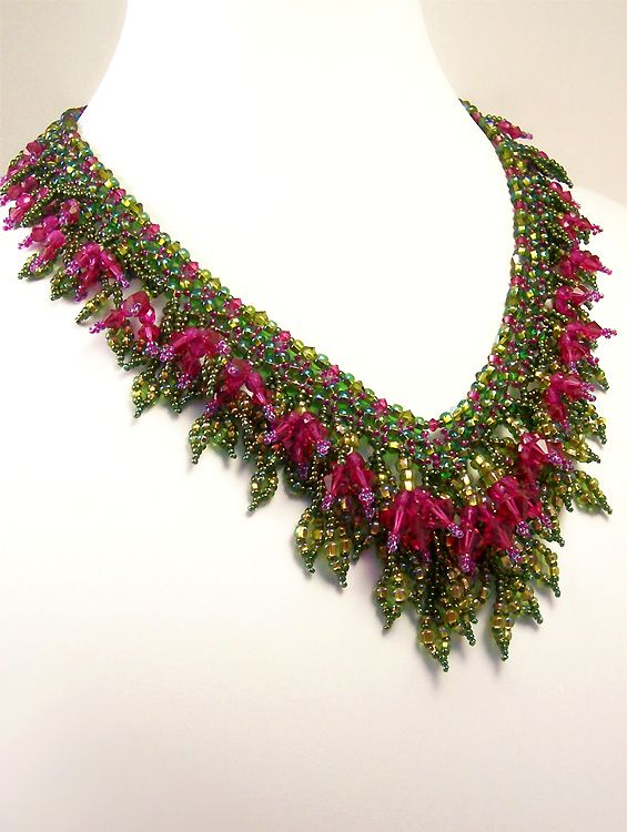 ~~Beadwork by Marsha Wiest-Hines ~ Fuchsia Profusion Necklace~~
