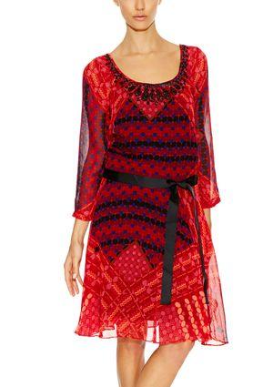 On ideel: DESIGUAL Three-Quarter Sleeve Printed Dress