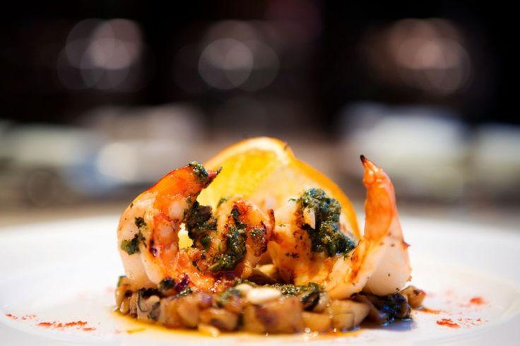 Barolo's grilled jumbo prawn with eggplant caponata and orange ...