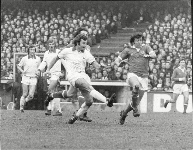 QPR 0 Leicester City 2 in March 1974 at Loftus Road. Keith Weller passes forward with Terry Venables marking in the FA Cup 6th Round.