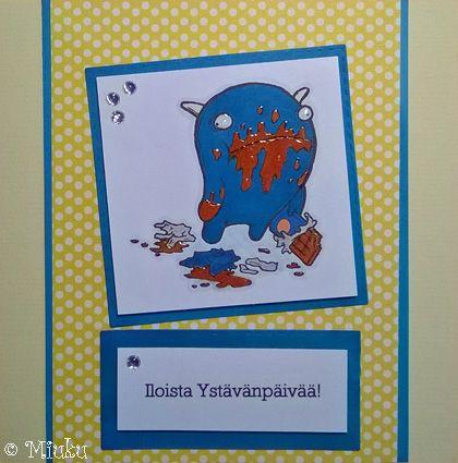 Paper Makeup Stamps. Chocolate monster. Valentine's day card. / Suklaamonsteri leimasin. Ystävänpäiväkortti.