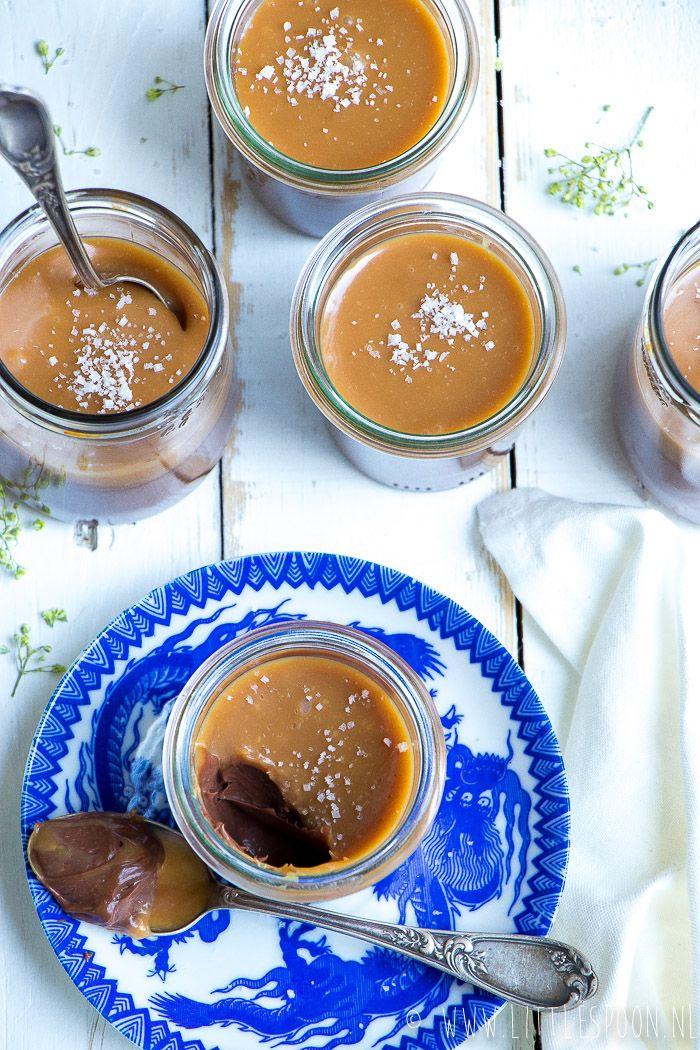 Geweldige chocoladecrème met een sausje van gezouten karamel