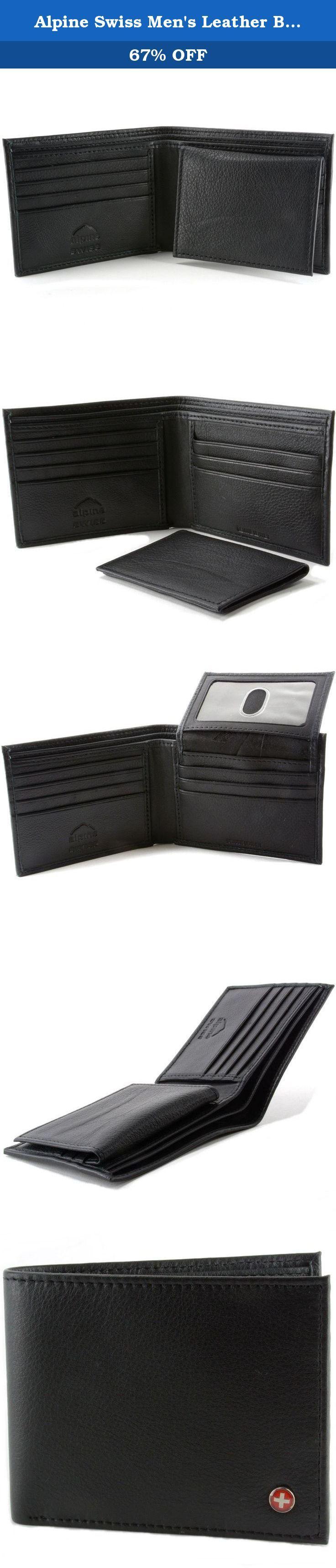 Alpine Swiss Men's Leather Bifold Wallet Removable Flip Up ID Window Black Wide. Alpine Swiss Men's Leather Bifold Wallet Removable Flip Up ID Window Black Wide.