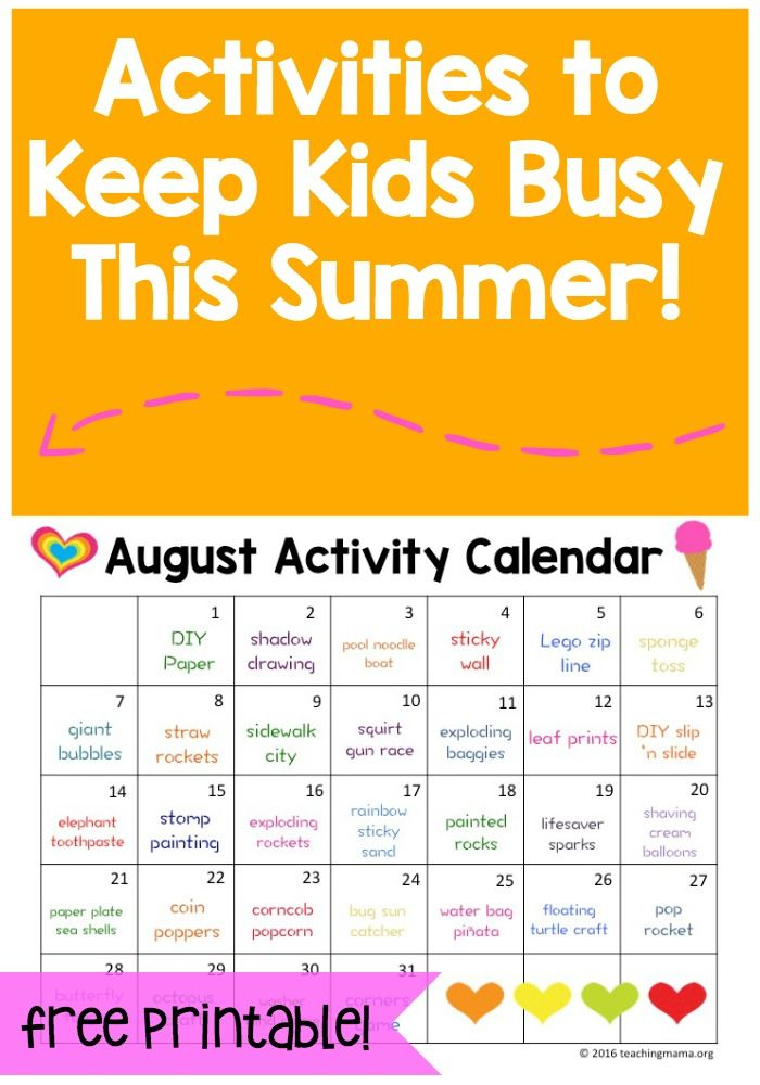 August Activity Calendar - fun activities for every day in August!
