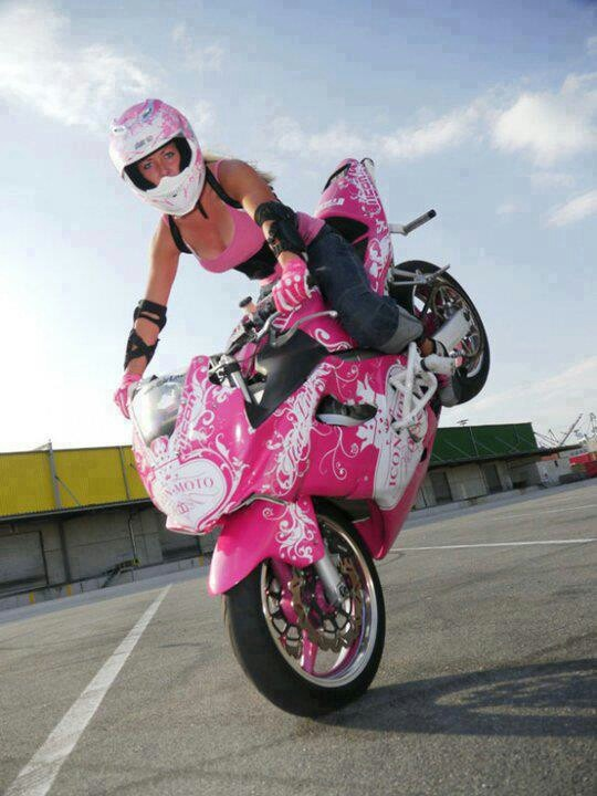 Girl putting on a stunt riding clinic! http://www.youmotorcycle.com