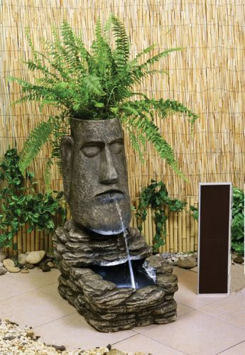 Easter Island head Solar Water Feature and Planter - £99.95