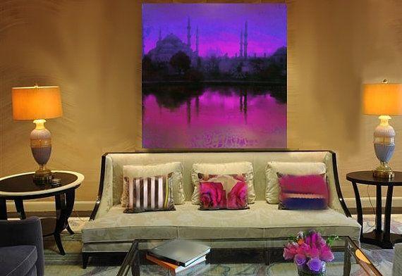 ART/Turkish,Islamic,Art,Sunset, Pink, 36x36  Home Decor/ Large/Canvas Print Original Painting