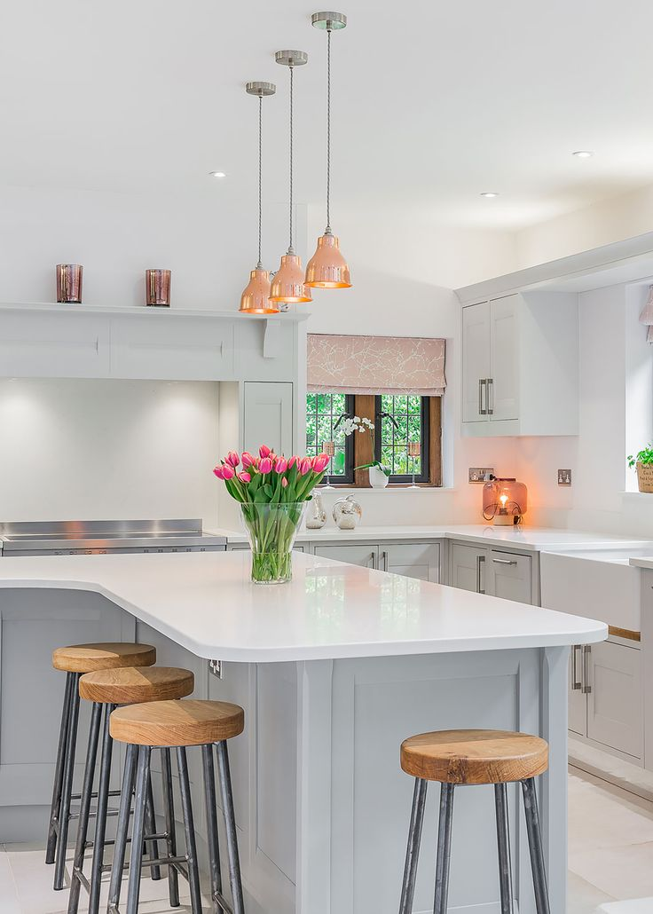 Small Copper Factory Pendants in modern kitchen by Zoe Price Interiors | Artifact Lighting