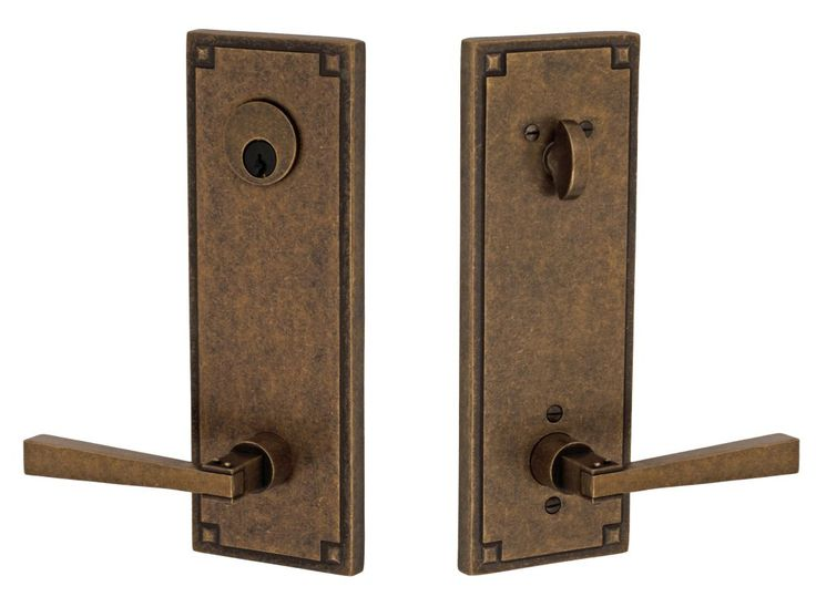 Miseno E-AY-07 Mission Solid Brass Single Cylinder Keyed Entry Door Lever Set wi Medium Bronze Leverset Keyed Entry Single Cylinder