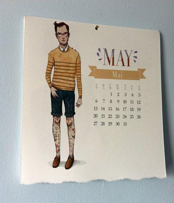 manly hipster man calendar etsy Paulette Trudel Bellemare