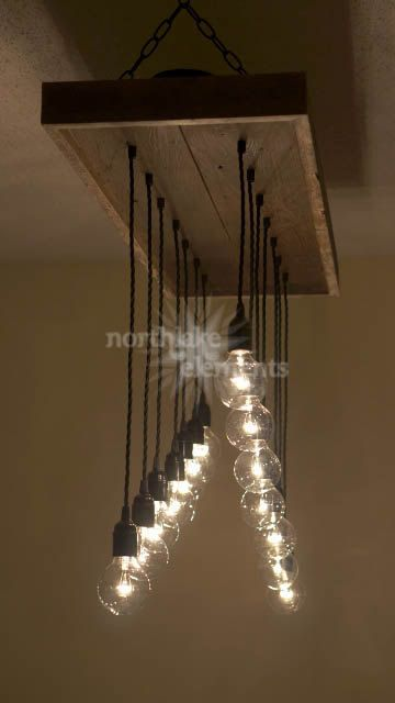 Gradient Handmade Chandelier- 14 pendant reclaimed wood chandelier - rustic dining room- eclectic dining room chandelier