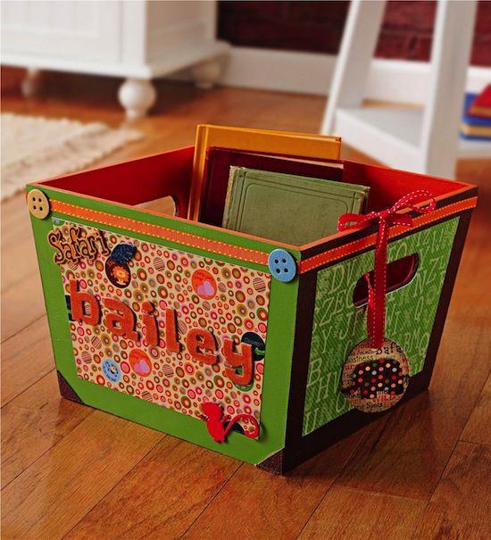 Mod Podge storage tote for a kids room