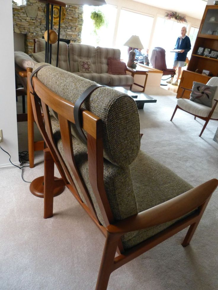 1980s Teak and Tweed/Leather straps Lounge Chair - rear view