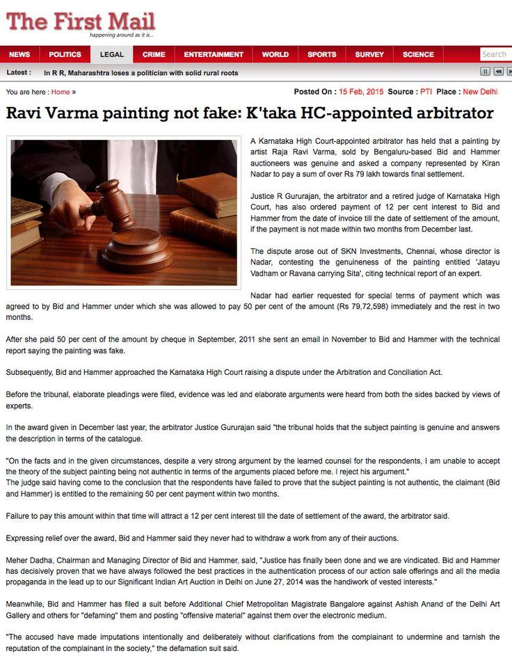 First Mail, New Delhi, 16th Feb 2015: Ravi Varma painting not fake - Karnataka High Court appointed arbitrator